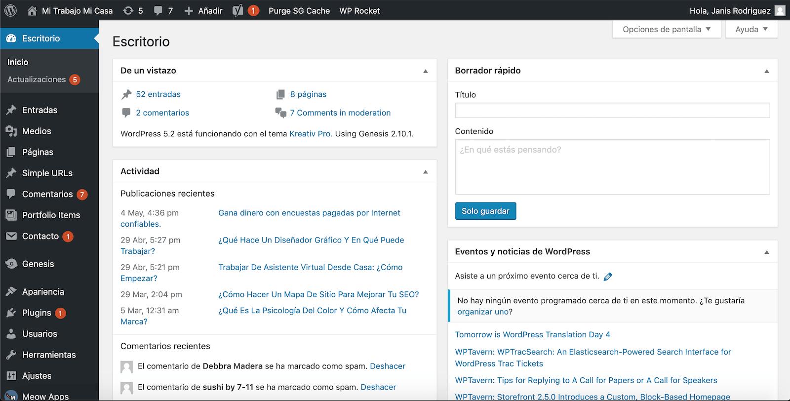 Escritorio - cómo usar WordPress