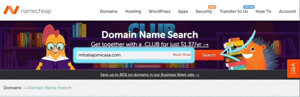 cómo comprar un dominio en Namecheap paso 1