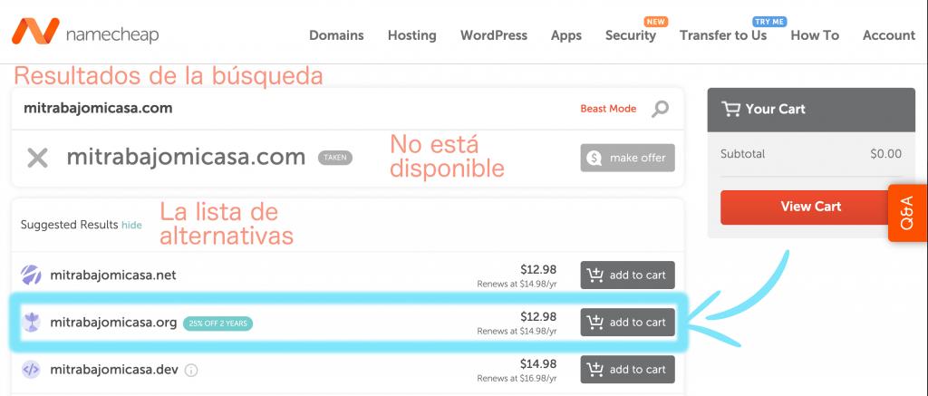 cómo comprar un dominio en namecheap paso 2