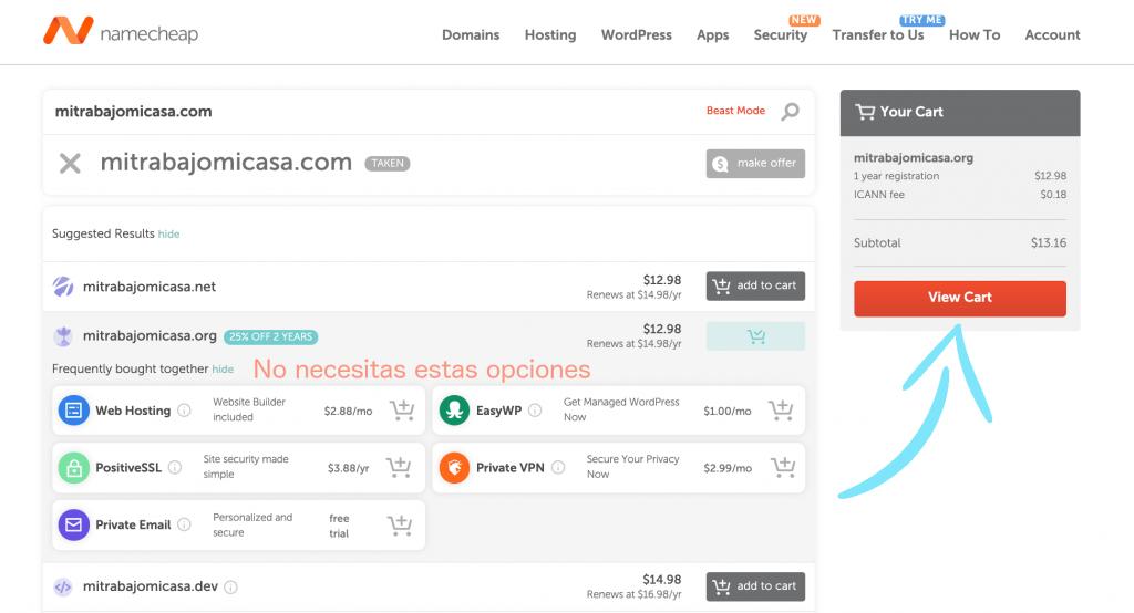 Cómo comprar un dominio en Namecheap paso 3