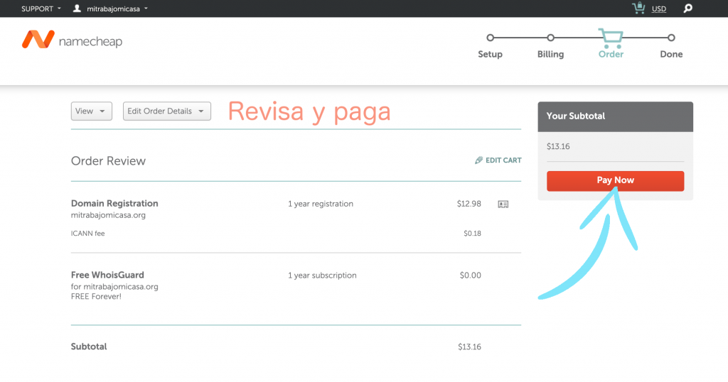 Cómo comprar un dominio en Namecheap paso 5