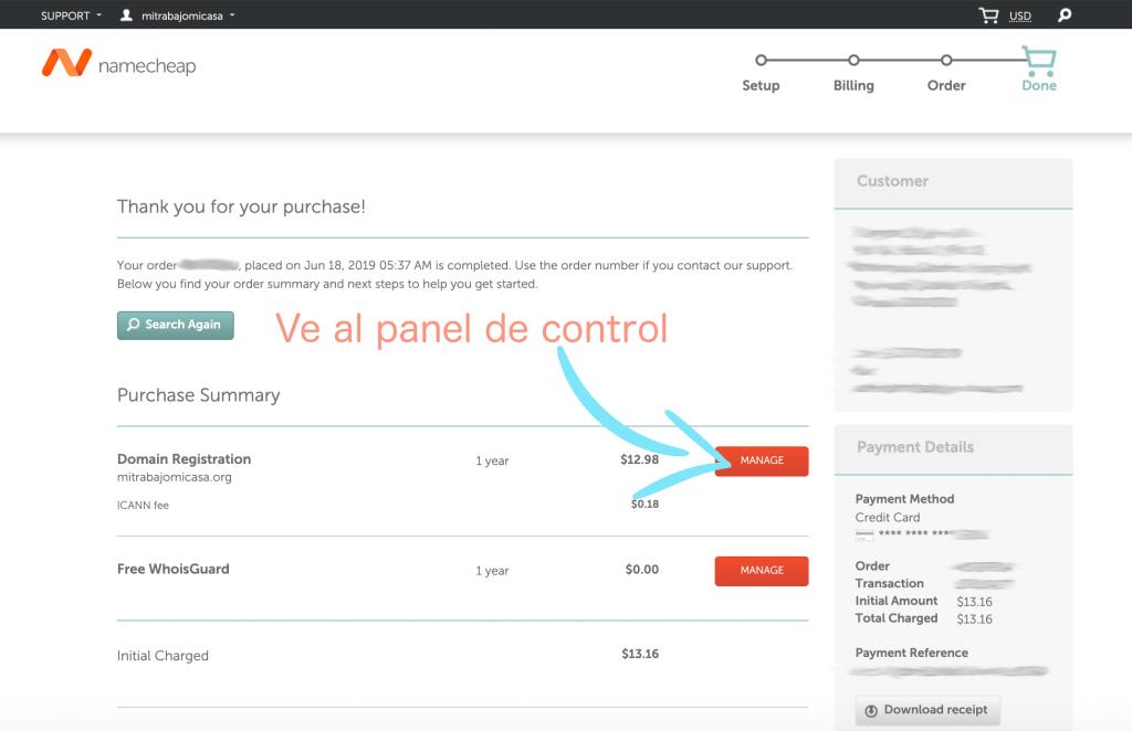 Cómo comprar un dominio en Namecheap paso 7
