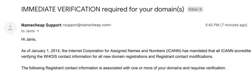 verificación de información - Namecheap