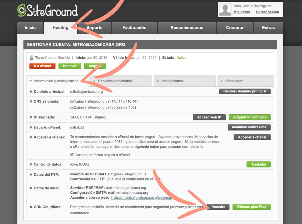 como configurar Cloudflare en Siteground paso 1