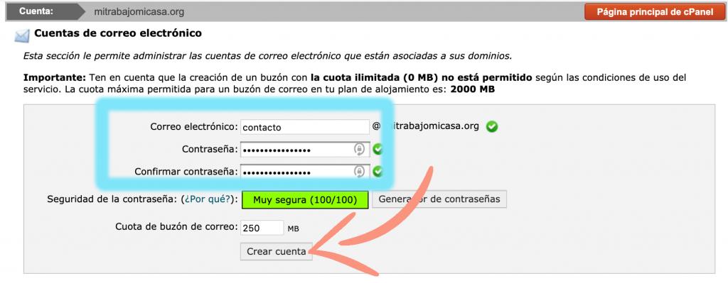 como crear una cuenta de correo en cPanel paso 2