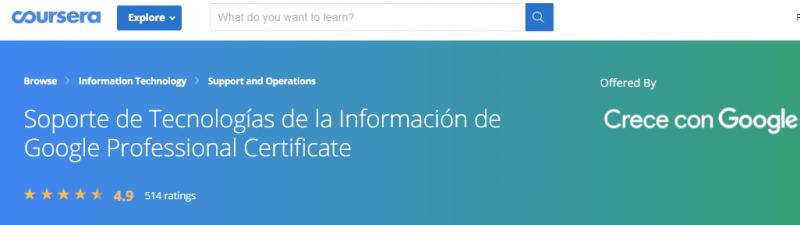 Certificación Profesional de Tecnologías de la Información de Google